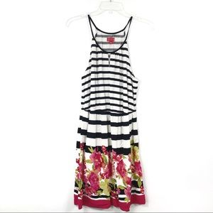 ELLE Stripe Floral Spring Sun Dress L